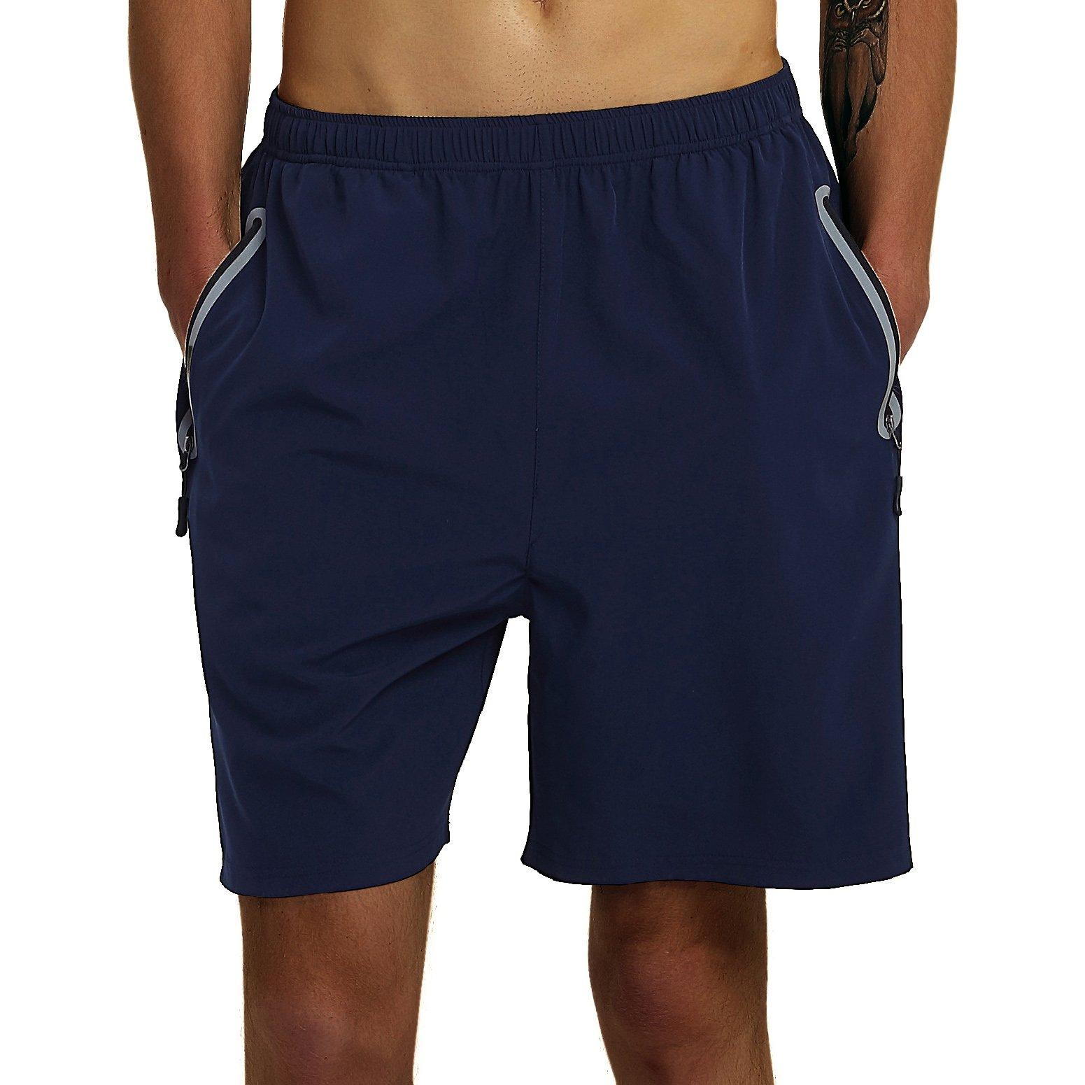 SuperArt Men\'s Gym Shorts Outdoor Sports Running Beach Shorts Lightweight Quick Dry Shorts Reflective with Zipper Pockets (Navy Blue, Medium)