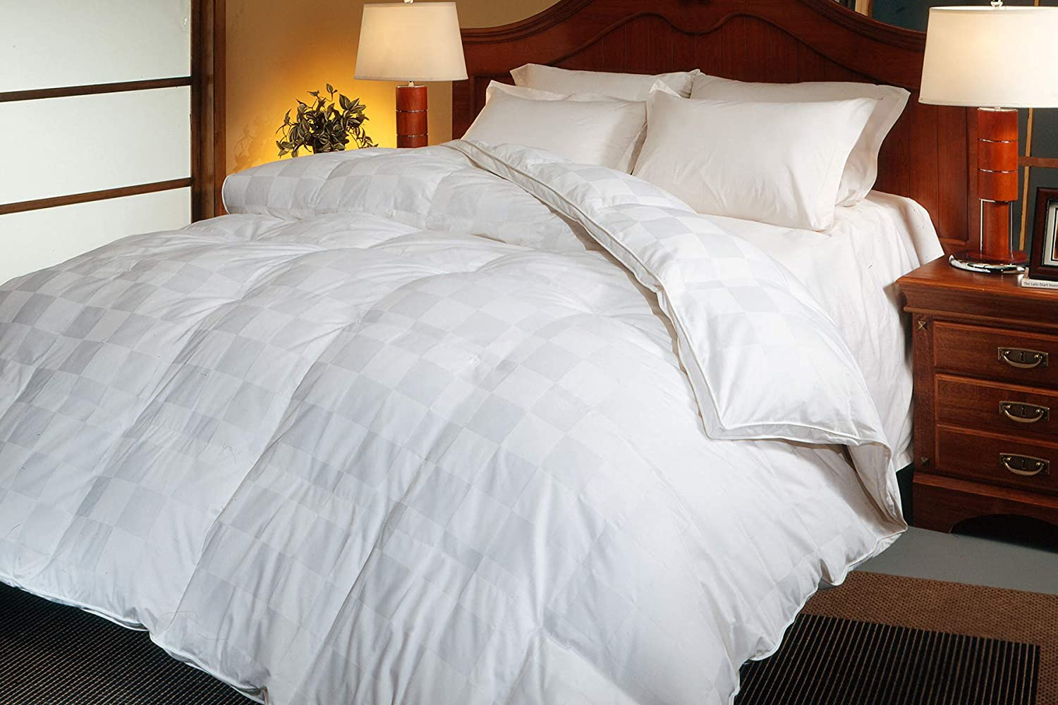 Blue Ridge Home Fashions White 500 Thread Count Euro Check Goose Down Comforter, King