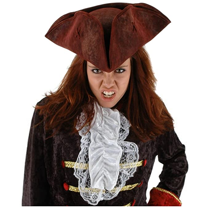 Red Distressed Faux leather Tricorn Scallywag Women's Pirate Hat Costume Accessory by Elope