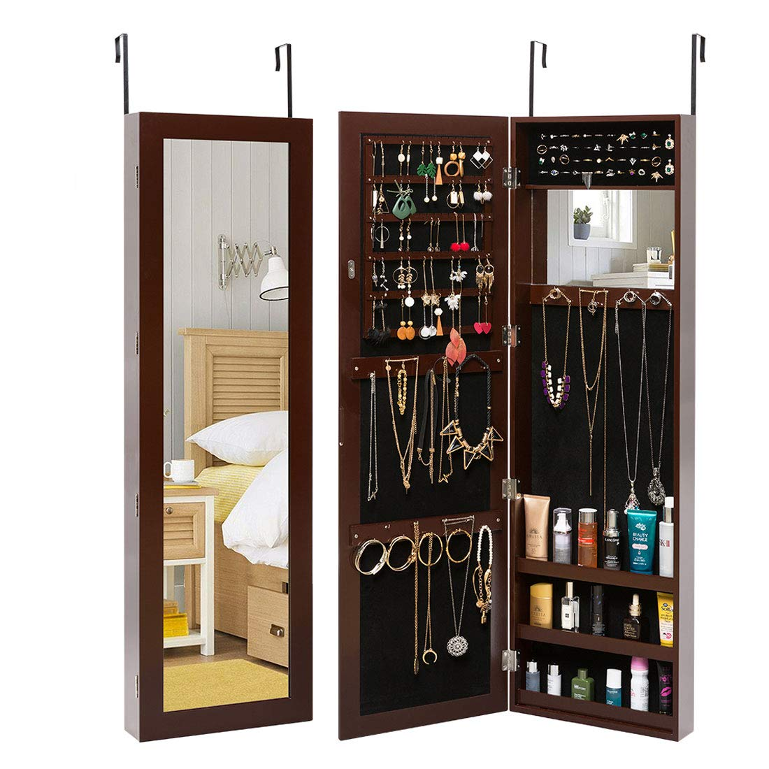 Marble Field Jewelry Cabinet Armoire Mirrored Cabinet with Full-Length Mirror Wall Door Mounted Hanging Jewelry Armoire Organizer for Necklaces Rings Brown