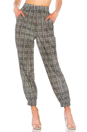 code promo 04d65 f0d18 Nansiche Pantalon de Poche à Carreaux Vintage à Taille élastique pour Femmes