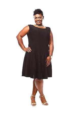 43247adcb8386 Julian Taylor Women Plus Size Pintuck Fit and Flare Dress - Plus Size  Little Black Dress