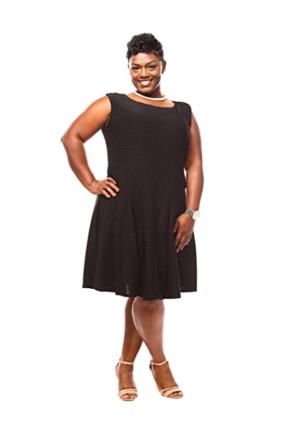 Julian Taylor Women Plus Size Pintuck Fit and Flare Dress ...