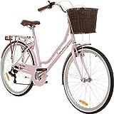 Galano 26 Zoll Cityrad Belgravia 6 Gang Damenfahrrad Mädchenrad Citybike mit Korb