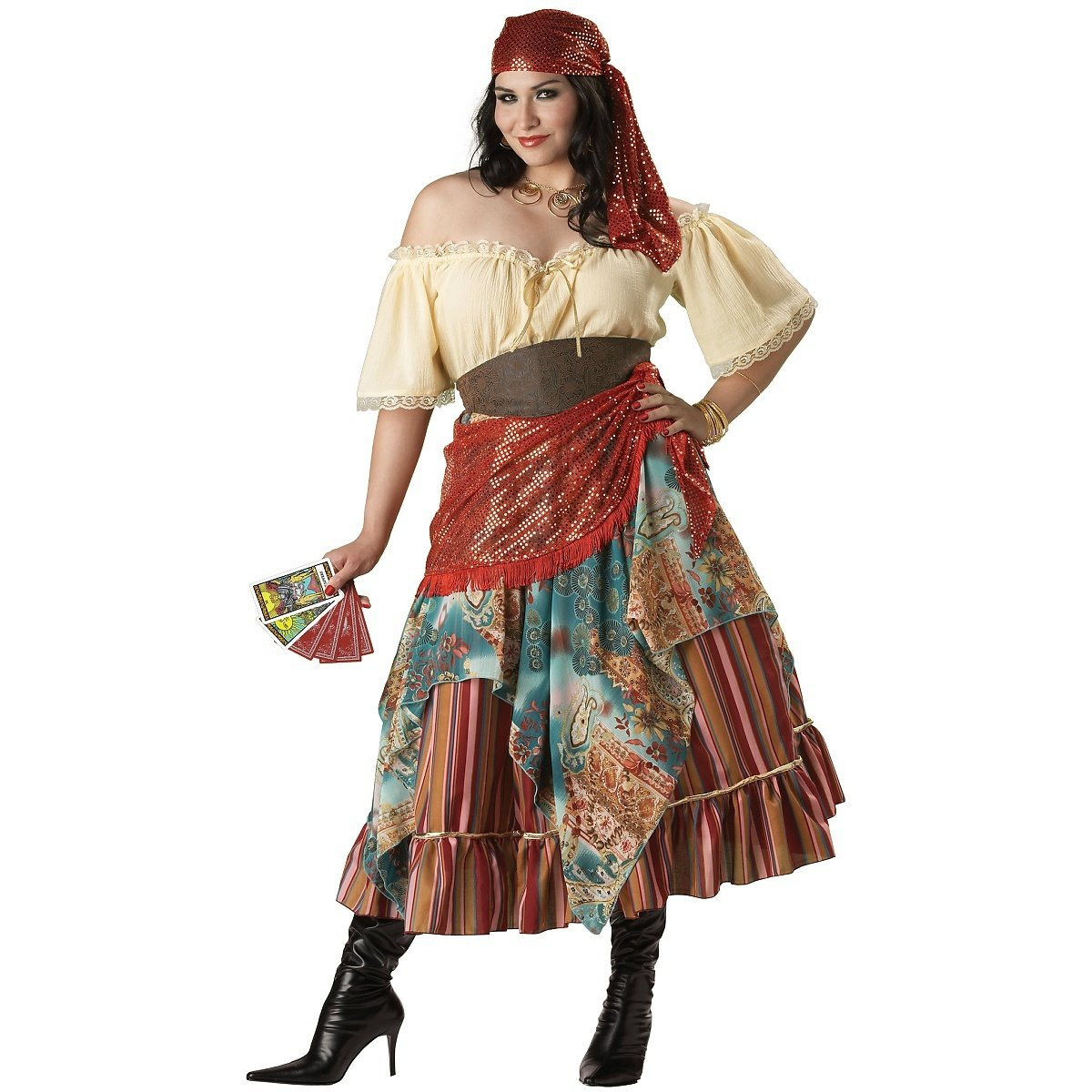 InCharacter Costumes Women's Plus Size Fortune Teller Costume Tan/Red/Blue, XX-Large