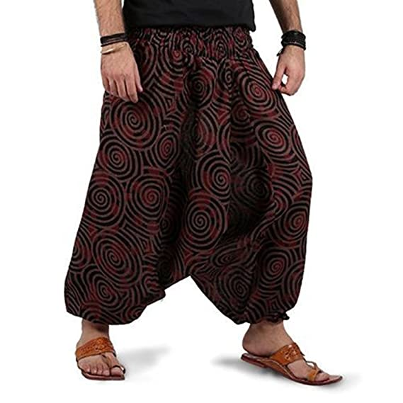 6b8f291ff0a Namaste India Unisex Cotton Harem Dhoti Pant Gypsy Elastic Yoga Aladdin  Casual Trouser  Amazon.in  Clothing   Accessories