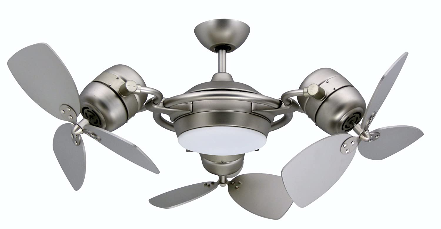 Tristar triple motor ceiling fan with 3x18 inch blades light and tristar triple motor ceiling fan with 3x18 inch blades light and remote satin steel finish amazon aloadofball Images