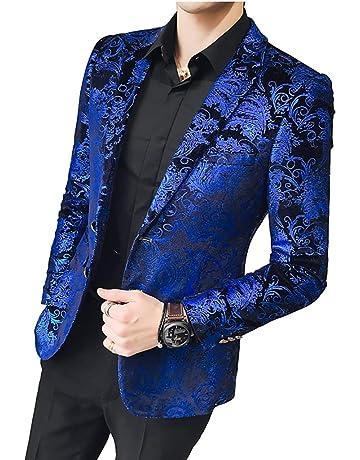 28dbc02c926812 WULFUL Men's Luxury Casual Dress Floral Suit Notched Lapel Slim Fit Stylish Blazer  Jacket Party Coats