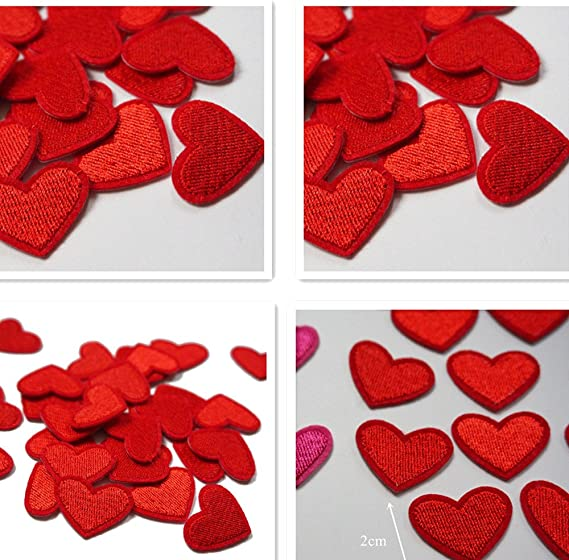 Chytaii 10pcs Parche Bordado Apliques Parche Encaje Bordado Costura DIY Cuello Escote Accesorios de Vestir Ropa Parches para la Camiseta Jeans Ropa Bolsas En Forma de Coraz/ón Rojo
