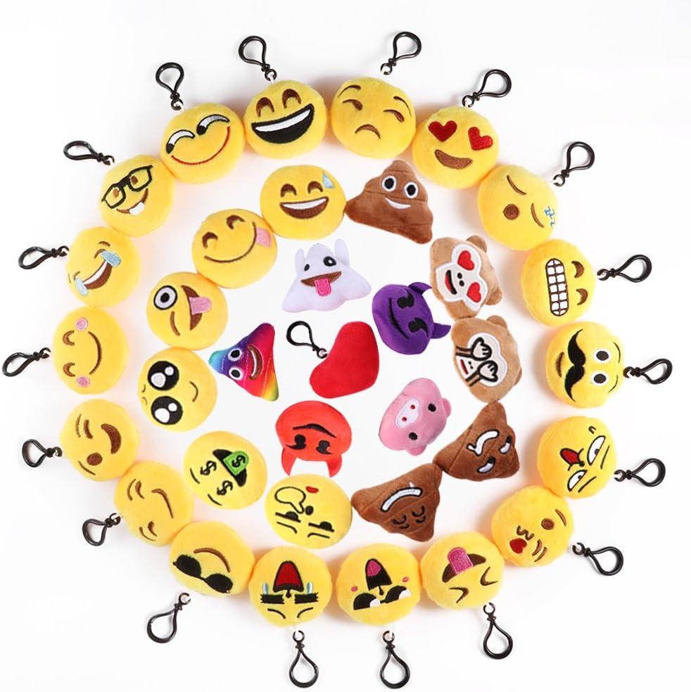 Mini Emoji Llavero, 35 Pack Emoticon Llavero Felpa Peluche Emoji encantadora almohada para la decoración de bolsos mochilas y Llaves Regalitos para niños cumpleaños Colgante de decoración para Coche