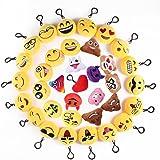 Mini Portachiavi Emoji, 35 Pezzi Pop di Emoticon Portachiavi Decorazioni - Ideale per Zaino Borsa Regalo, Faccine Portachiavi Emoticon - Perfetto Regalo per il giorno dei bambini, Natale, compleanni