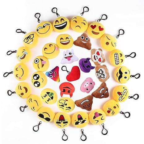 Mini Emoji Llavero, 35 Pack Emoticon Llavero Felpa Peluche Emoji encantadora almohada para la decoración de bolsos mochilas y Llaves Regalitos para ...