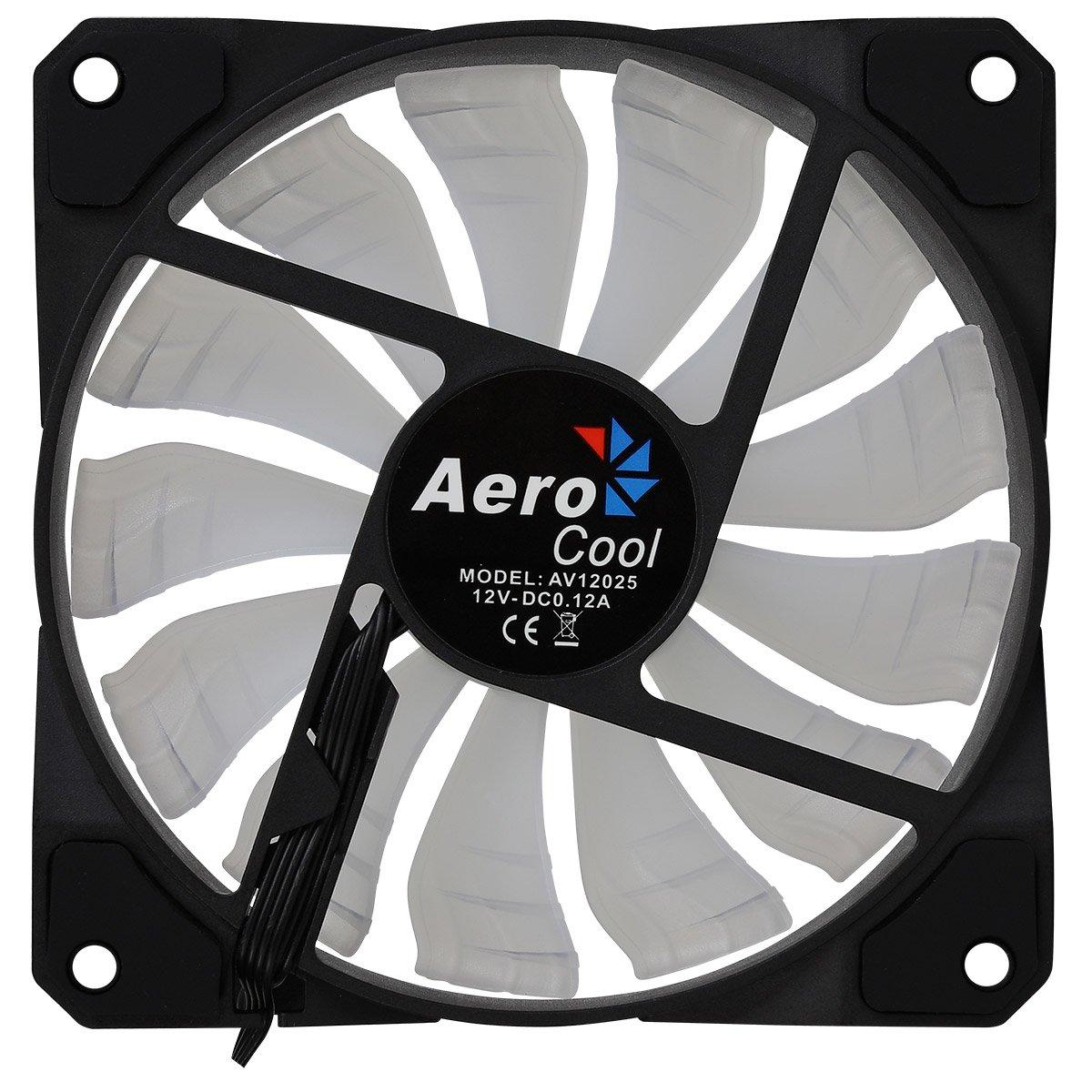 Aerocool Rev Pro color negro Pack de 3 ventiladores para PC con iluminaci/ón RGB 12 cm, aspas curvas, anillo dual LED 3 efectos, controlador P7-H1, 15 dBa