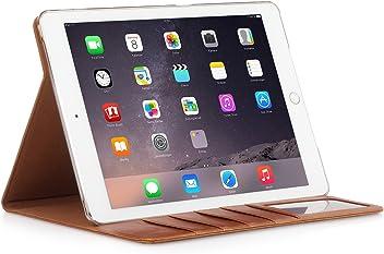 StilGut® série Vinur, Housse avec Fonction de Support et Compartiments pour Cartes pour iPad Air 2, en Cognac