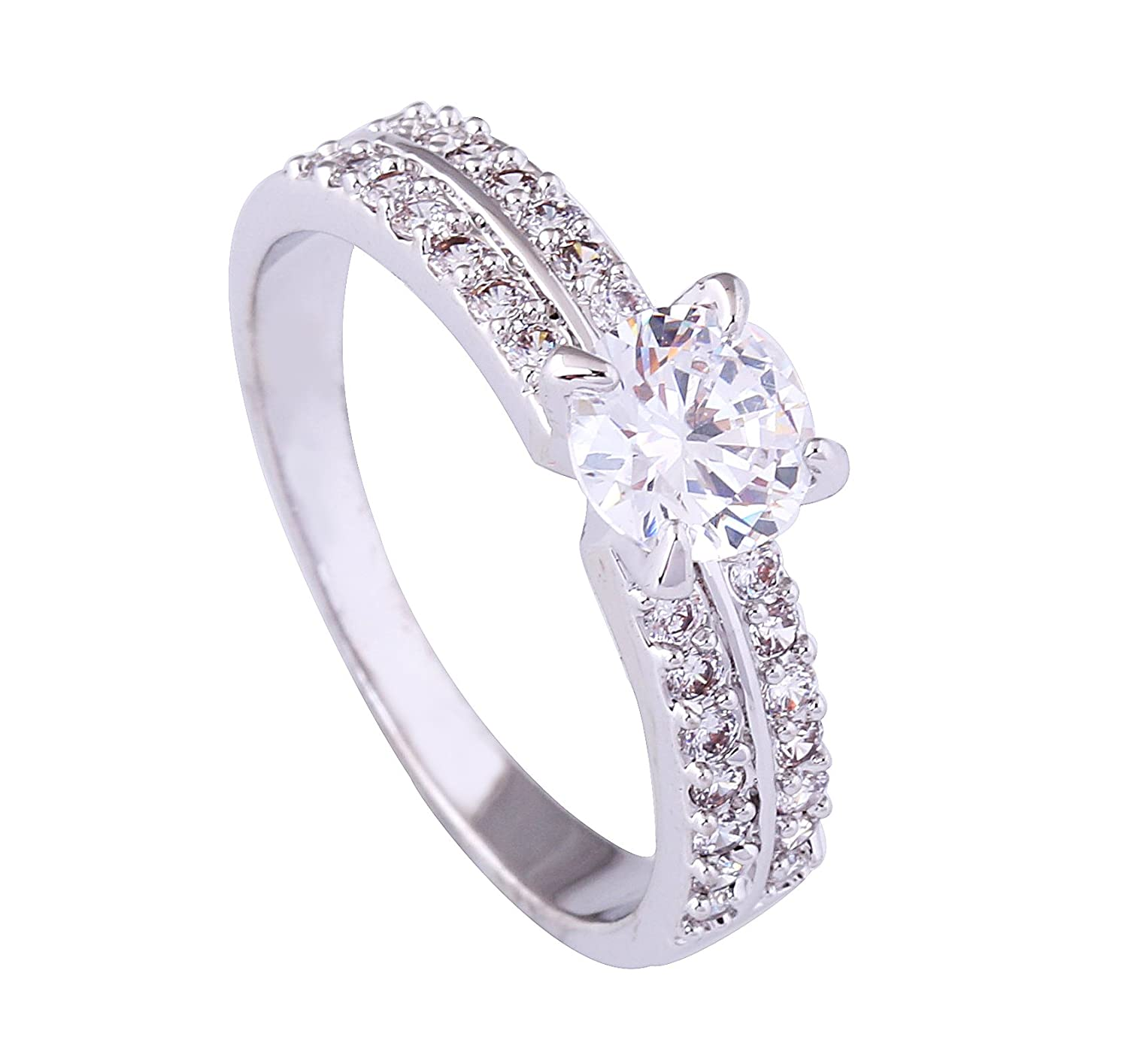 Acefeel White Gold Plated Bilayer Micro Paving Zircon Inlaid Four-claw Wedding Promise Ring R191