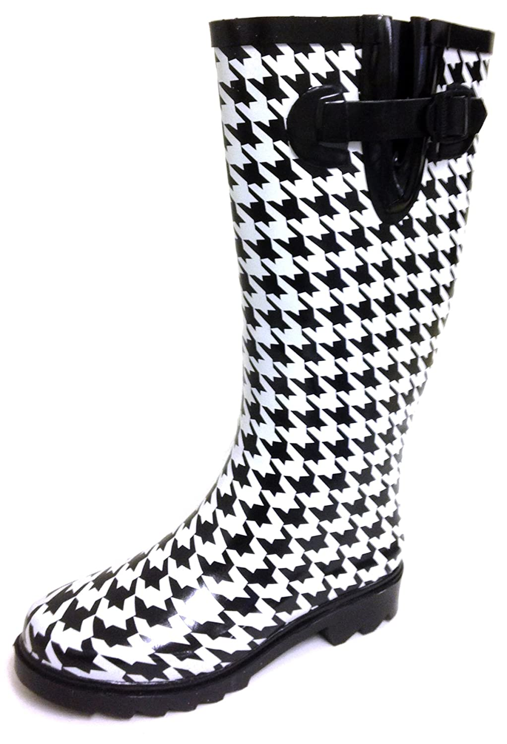 Black Houndstooth G4U Women's Rain Boots Multiple Styles color Mid Calf Wellies Buckle Fashion Rubber Knee High Snow shoes