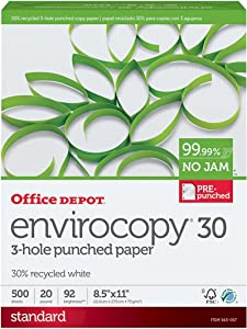 Office Depot EnviroCopy 3-Hole Punched Copy Laser Inkjet Printer Paper, 30% Recycled, 8 1/2 x 11 inch Letter Size, Punch, 20 lb. Density, 92 Bright White, Pre-Punched, Ream, 500 Total Sheets (563057)