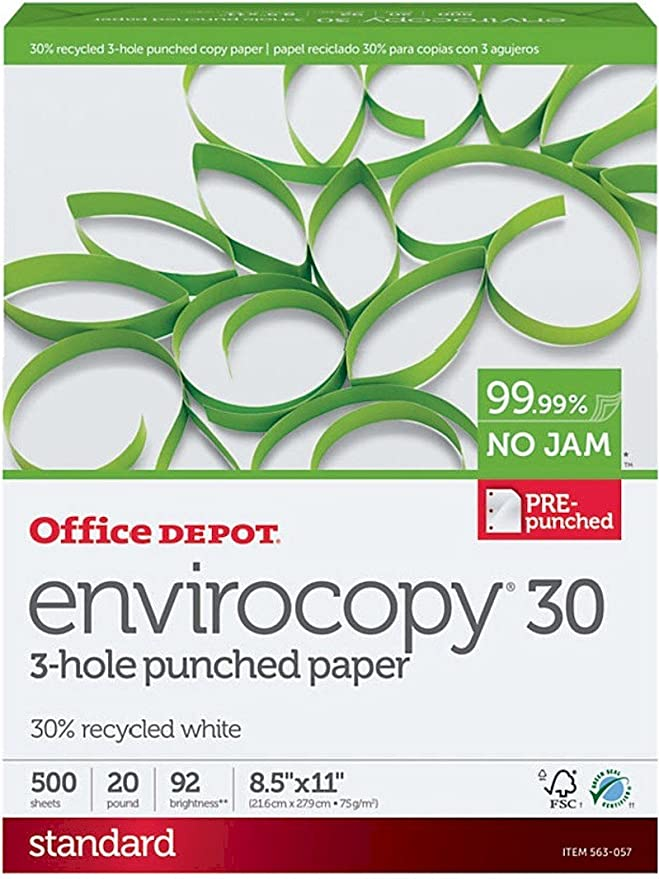 Amazon.com: Office Depot envirocopy 3-hole punched Copia ...