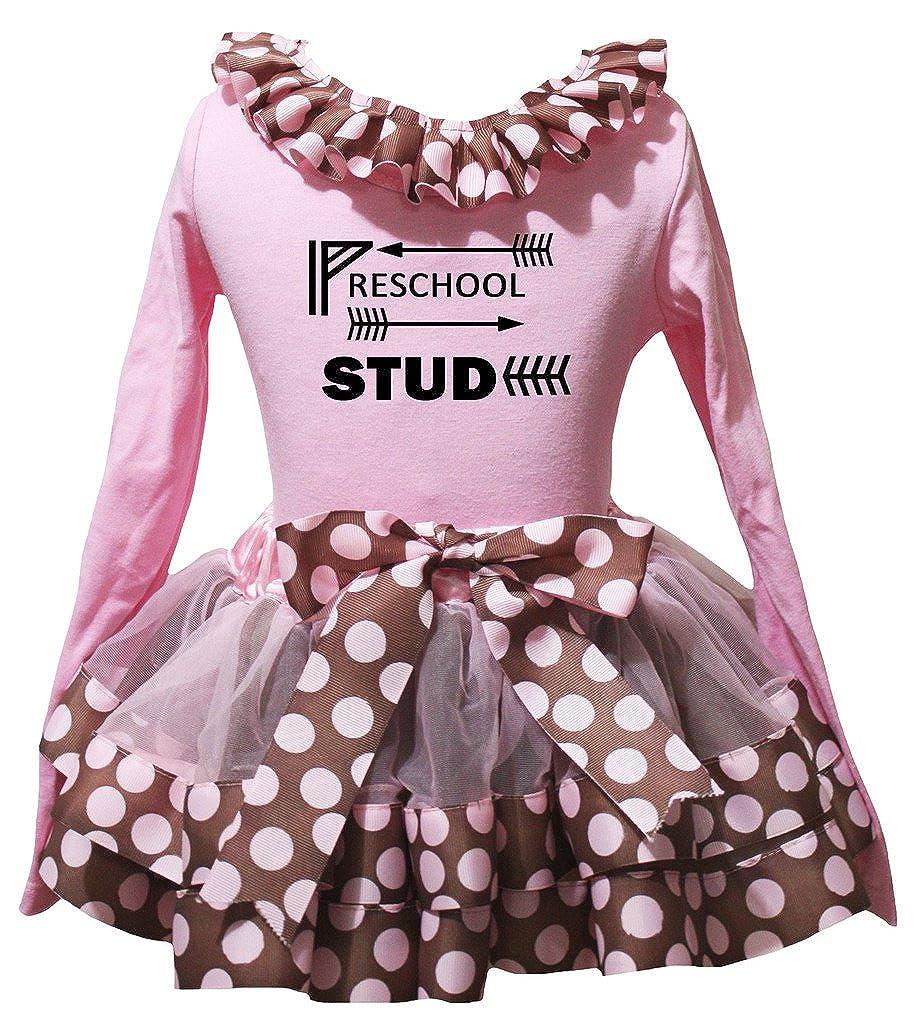 Petitebella Preschool Study Pink L//s Shirt Brown Pink Dots Petal Skirt Nb-8y