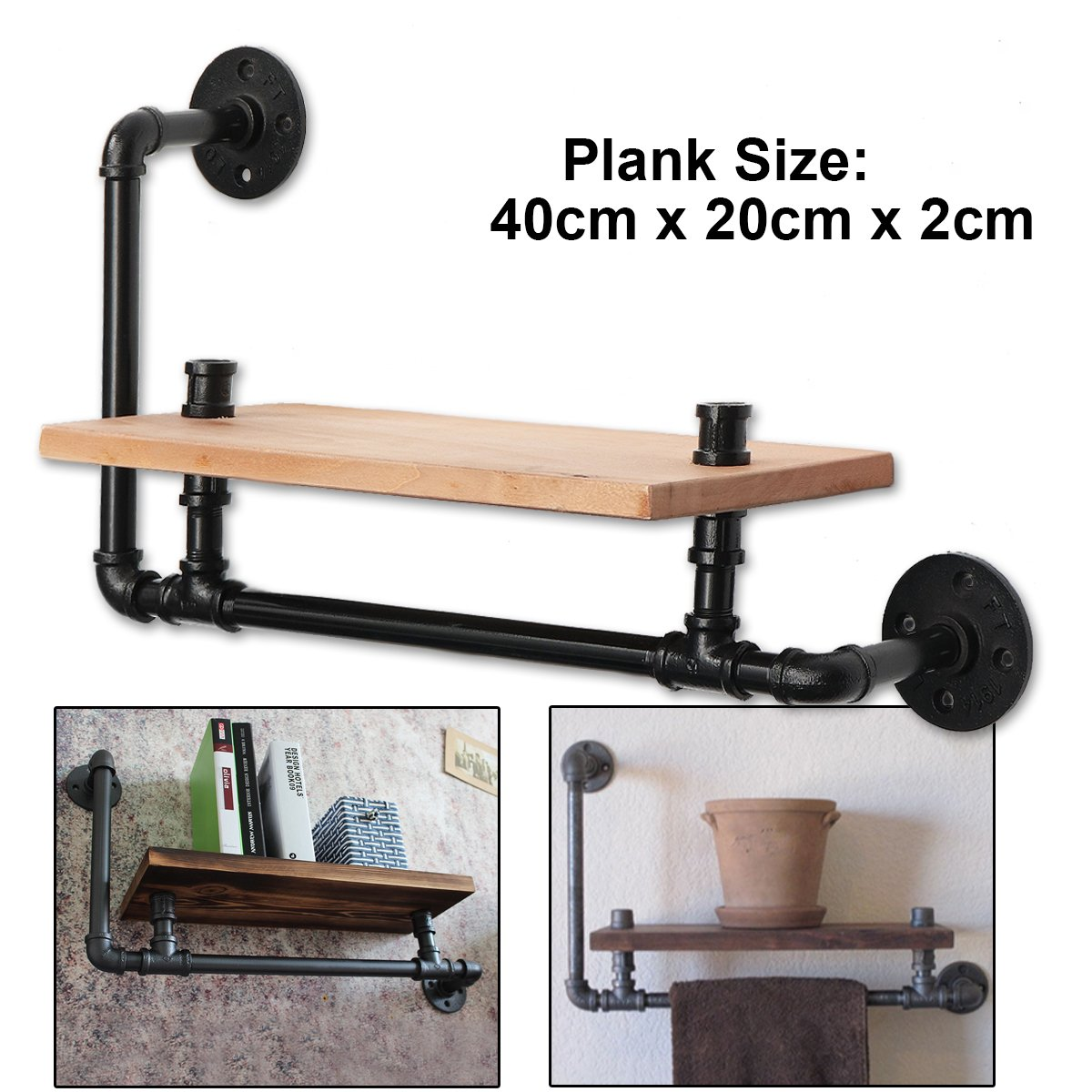 KINGSO Industrial Pipe Clothing Rack Wood Shelving shoes rack cloth hanger Wall Mount Pipe Hanger Rack Holder Clothes Storage Display Shelf