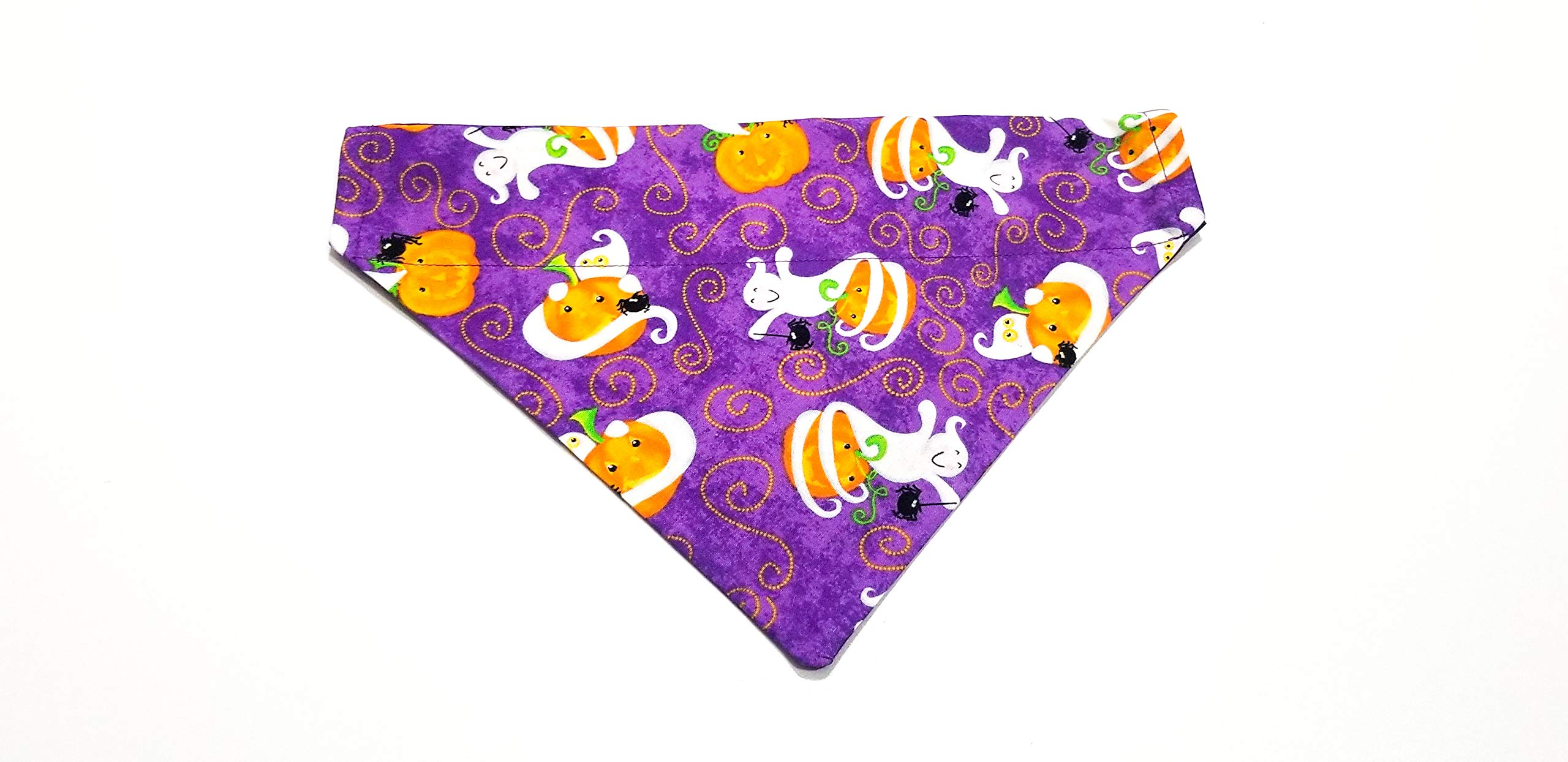 Halloween Print Pumpkin and Ghost Purple Dog Bandana Kerchief No-Tie Design