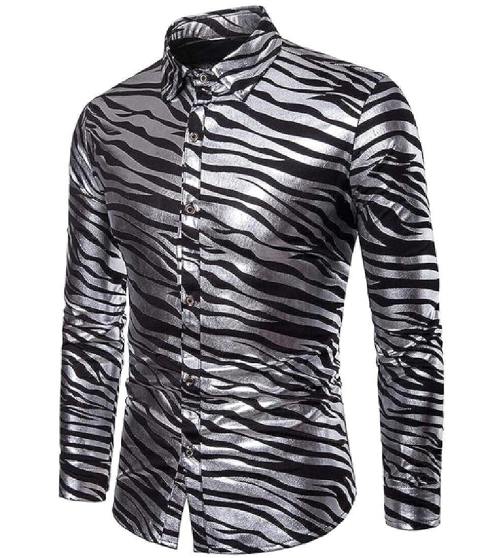 Abetteric Mens Slim Casual Zebra Grain Bright Color Button Down Shirt