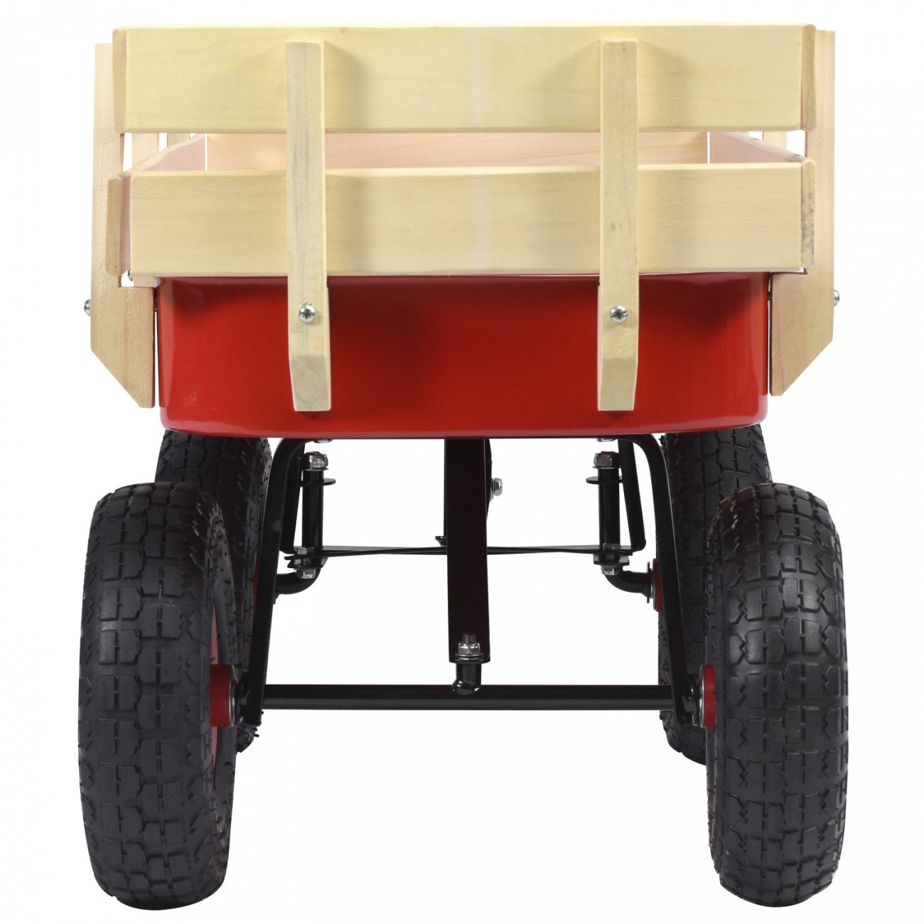Voyager Tools All Purpose Beach Wagon 330lb Capacity Moving Wagon Red And Light Wood