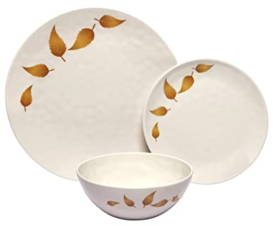 Melange 12-Piece 100% Melamine Dinnerware Set (Gold Leaves Collection ) | Shatter  sc 1 st  Amazon.com : chip proof dinnerware - pezcame.com