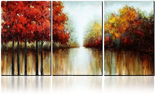 Asmork 100 Hand-Painted Autumn Scenery Trees Landscape Southwest Panel Wall Art Oil Paintings On Canvas Paintings Home Decor Ready to Hang Artwork – 3 Pieces