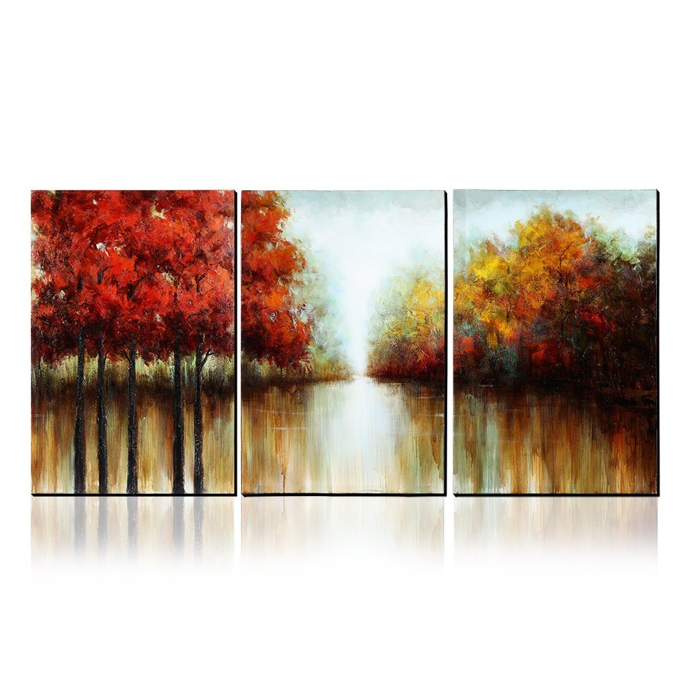 Asmork 100% Hand-Painted Autumn Scenery Trees Landscape Southwest Panel Wall Art Oil Paintings On Canvas Paintings Home Decor Ready To Hang Artwork - 3 Pieces by Asmork