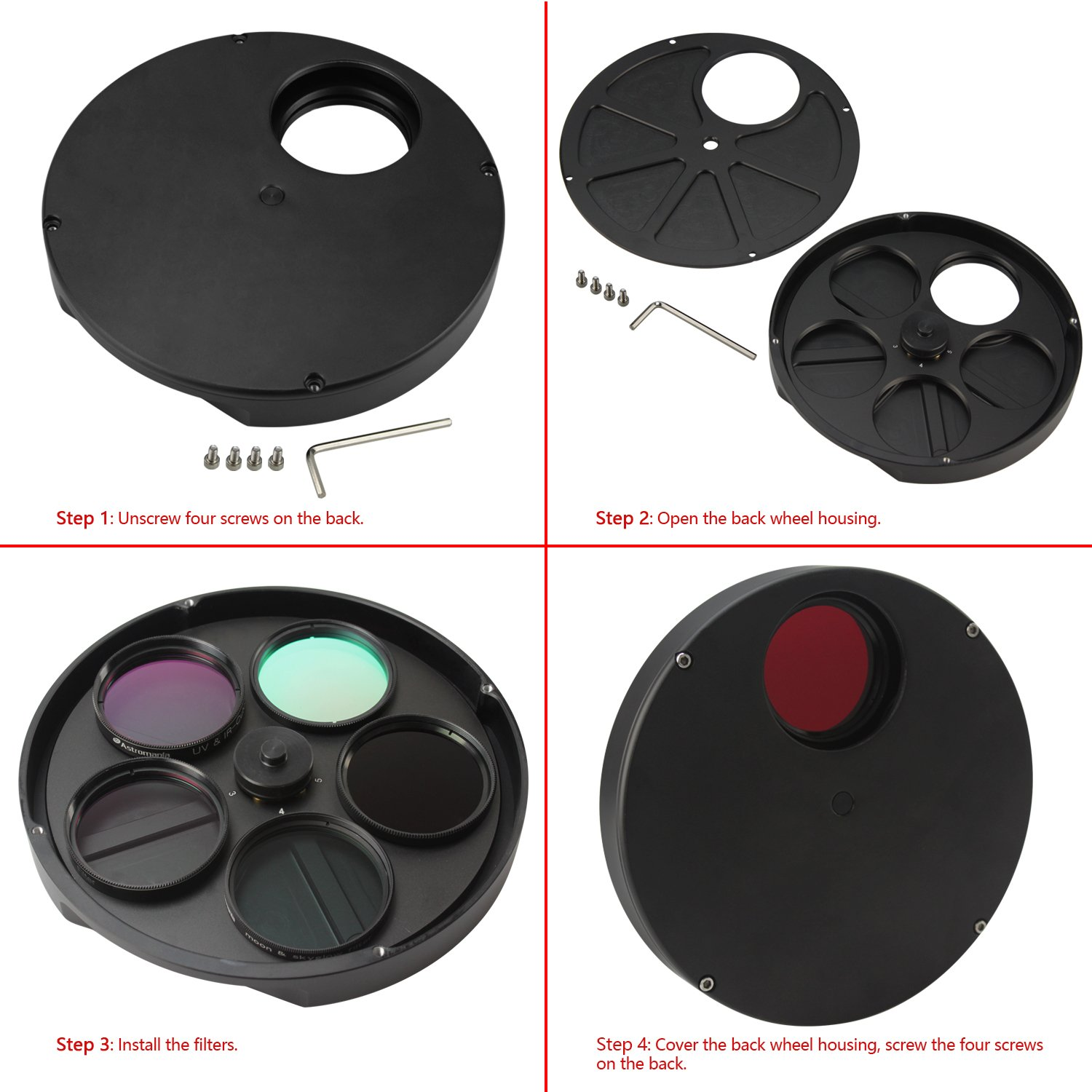 Astromania 2'' Superior Quality Multiple 5-Position Filter Wheel For Telescope - allowing you to image without any reflections or stray light by Astromania (Image #6)