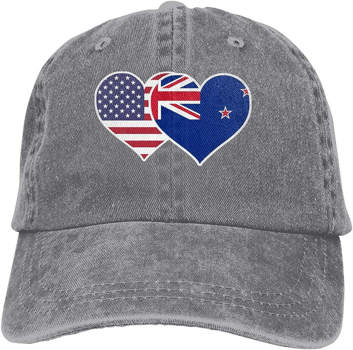 American New Zealand Flag Heart Adult Custom Cowboy Sun Hat Adjustable Baseball Cap
