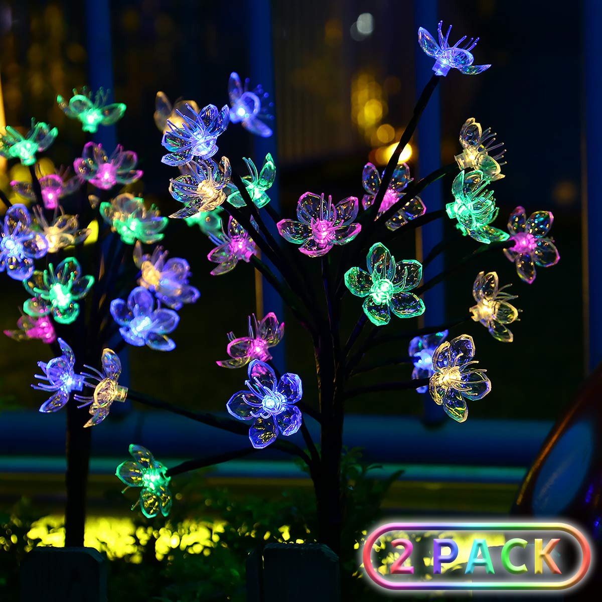 Solar Garden Lights Upgraded Outdoor Yard Decorations - Color Changing Bigger Artificial Flower Decorative , IPX7 Waterproof Wider Solar Panel Quality for Patio Yard Party Wedding Decoration,2 Pack by ANKEWAY