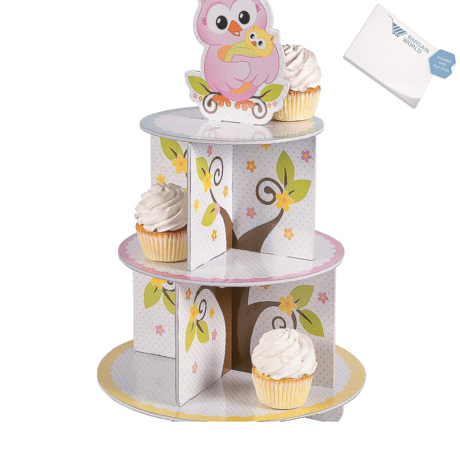 Bargain World Foam Owl Baby Shower Cupcake Holder (With Sticky Notes)