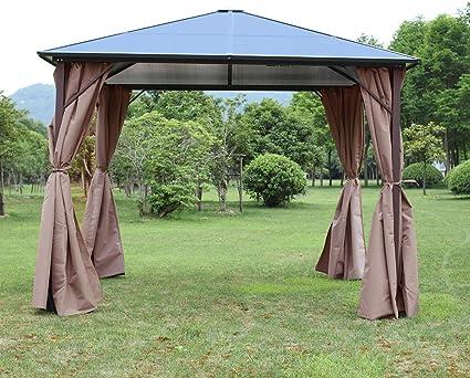 Hodiso Gazebo Permanente con Cortinas de 3 x 3 m o 3 x 3, 6 m, Techo de policarbonato Ahumado sólido, Resistente a la Intemperie, para Patio o jardín: Amazon.es: Jardín