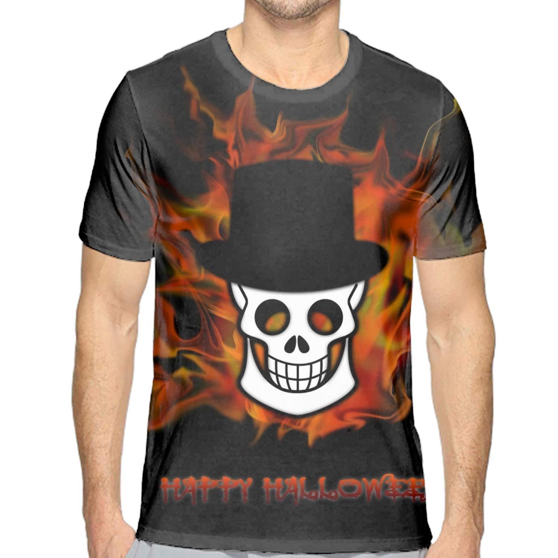 TRSL Men Summer 3D Printed Shirt Casual Short Sleeve Happy Halloween Skull Shirts