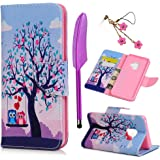 Galaxy S9 case, Stand PU Leather Wallet Case Ultra Slim Fit TPU Inner Credit Card ID Storage Magnetic Shockproof Flip Painting Colorful Owl Cover for Samsung Galaxy S9 (Purple)