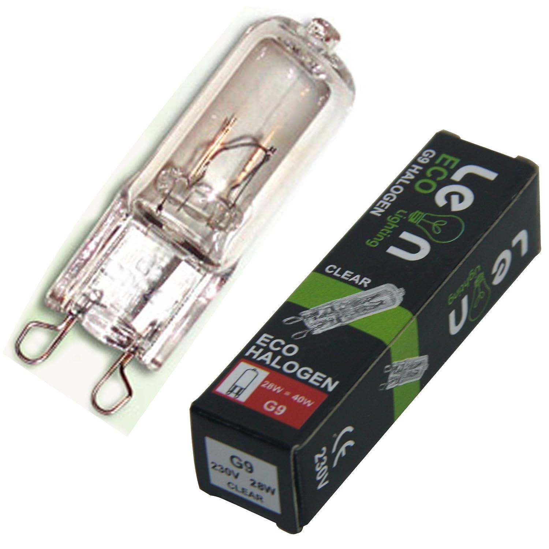 10 x G9 28w Clear ECO Halogen Capsule Bulbs 220-240v Energy Saving 28w with 40w Light output Leonlighting