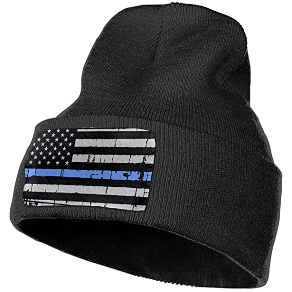 e5e3b82713a Image Unavailable. Image not available for. Color  Thin Blue Line American  Flag Men Women Acrylic Watch Cap Wool Winter ...