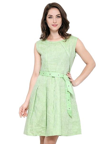 020565952b42 Smarty Pants Women Lime Linen A-Line Dress (SM-4)  Amazon.in ...