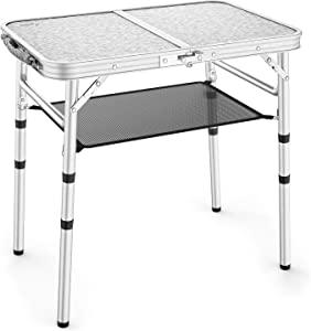 Sportneer Adjustable Height Camping Table with Mesh Layer, 23.6