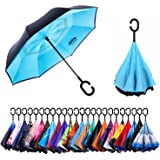 AmaGo Windproof Inverted Umbrella - UV Protection Double Layer Reverse Folding Long Self Standing Umbrella with C-Shape Handle for Car Rain Outdoor Travel