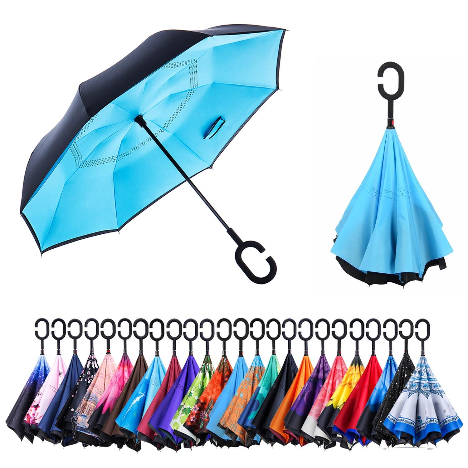 AmaGo Inverted Umbrella – Reverse Double Layer Long Umbrella, C-Shape Handle & Self-Stand to Spare Hands, Inside-Out Fold to Keep Cars & Drivers Dry, Carrying Bag for Easy Traveling Carrying Bag Easy Traveling