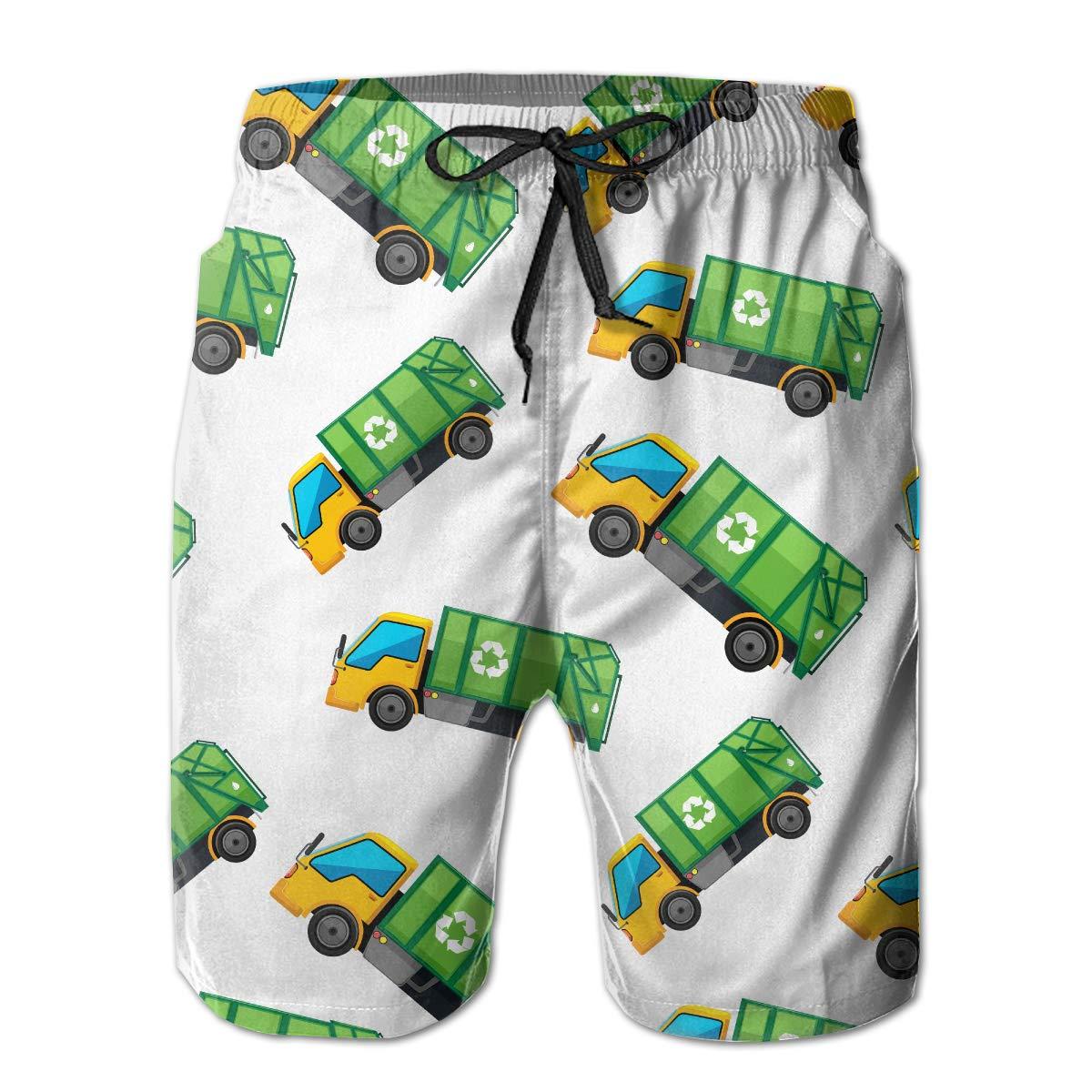 JF-X Cartoon Garbage Truck Mens Summer Beach Surf Board Shorts Quick Dry Swimming Trunks Casual Loose Sleep Short Pants