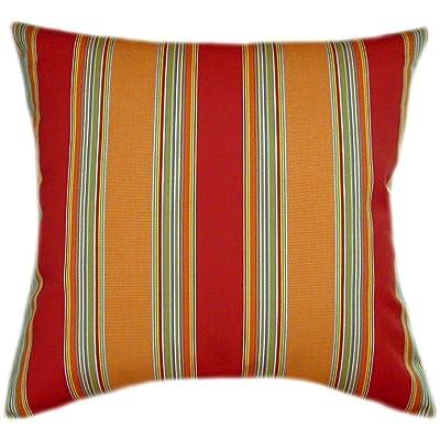 TPO Design, Sunbrella Bravada Salsa Indoor/Outdoor Striped Pillow 20x20: Home & Kitchen