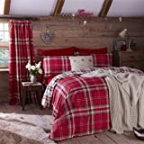 Catherine Lansfield Kelso Cotton Rich Check Print Bedding Duvet Quilt Cover Set, Red / Cream - King Size