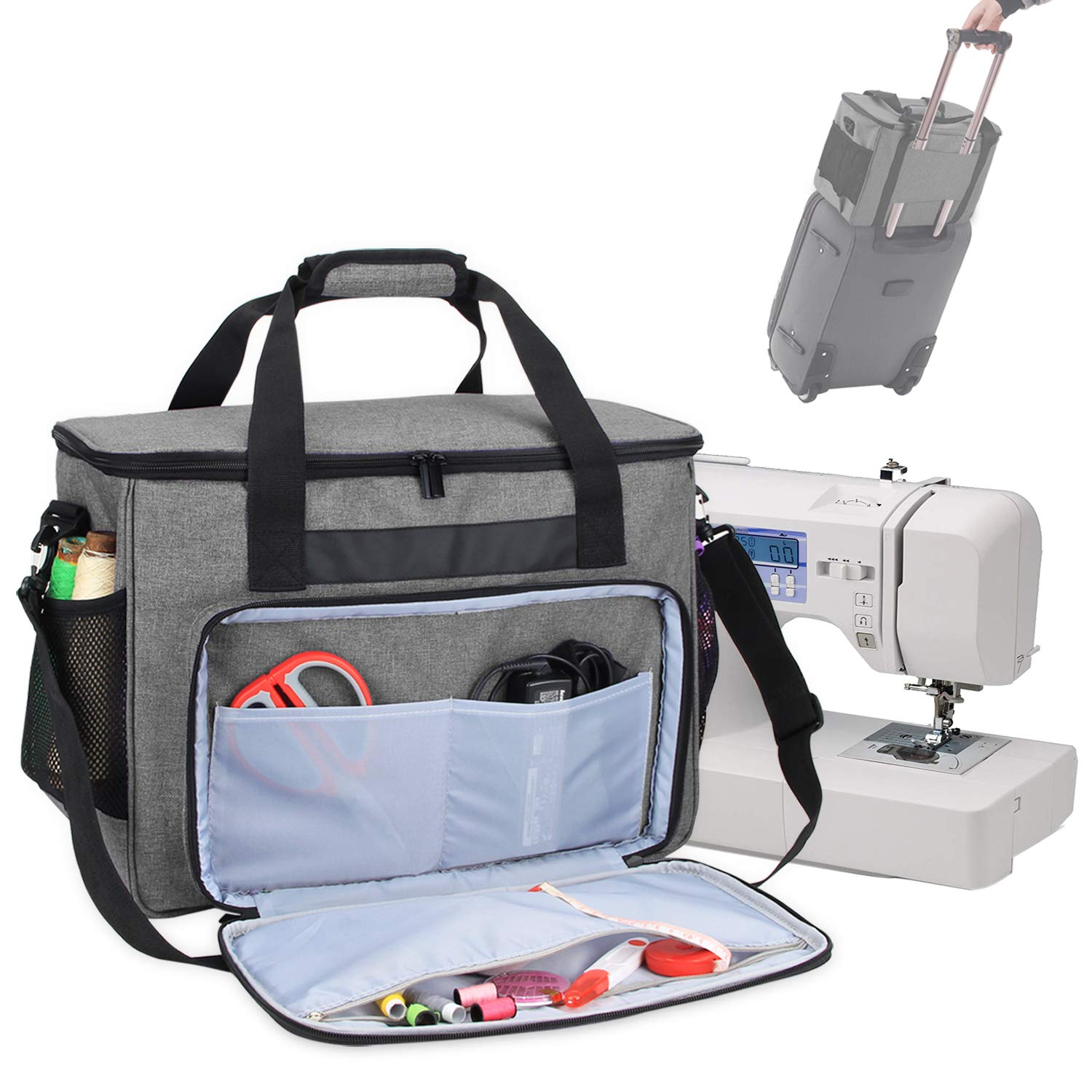Teamoy Sewing Machine Bag, Travel Tote Bag for Most Standard Sewing Machines and Accessories, Gray by Teamoy