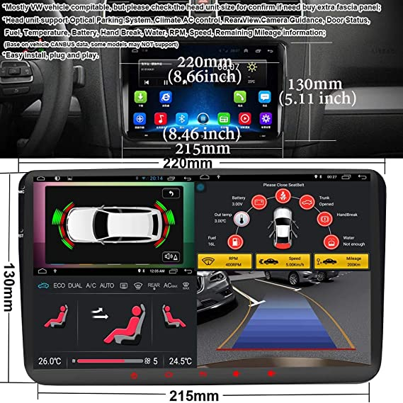 Android 8.1 Car Stereo for Volkswagen VW 2+16G 9inch with Canbus GPS Navigation Head Unit Quad Cord Bluetooth OBD WiFi Mirror Link Touch Screen Car ...