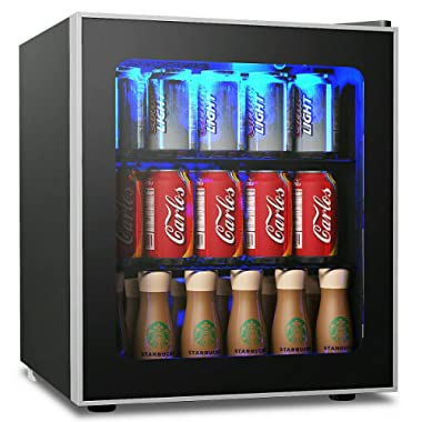 COSTWAY Beverage Refrigerator and Cooler, 60 Can Mini Fridge, Adjustable Removable Shelves, Perfect for Soda Beer or Wine Small Drink Dispenser Machine for Office or Bar (17.5  x 18  x 19.5 )