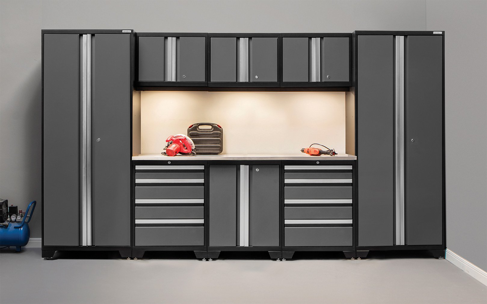 NewAge Products 50117 Bold 3.0 Cabinetry Set with Stainless Steel Work Top, Grey